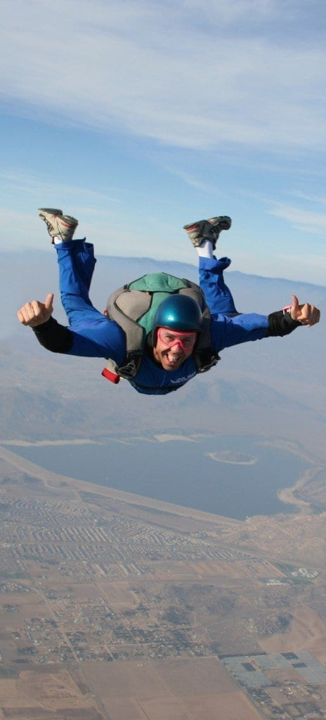 Den Bradshaw skydiving in Los Angeles